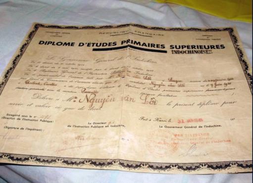 hinh 14M Diplome d'etudes primaires superieur -Jan 1945